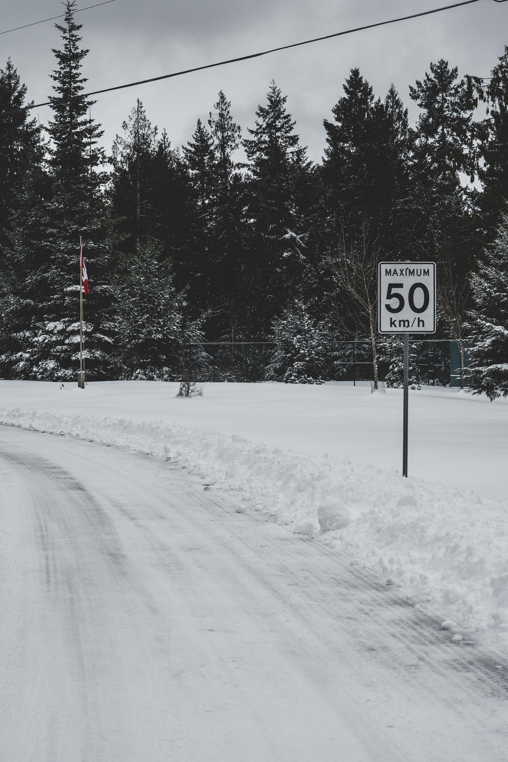 black and white stop sign on snow covered ground