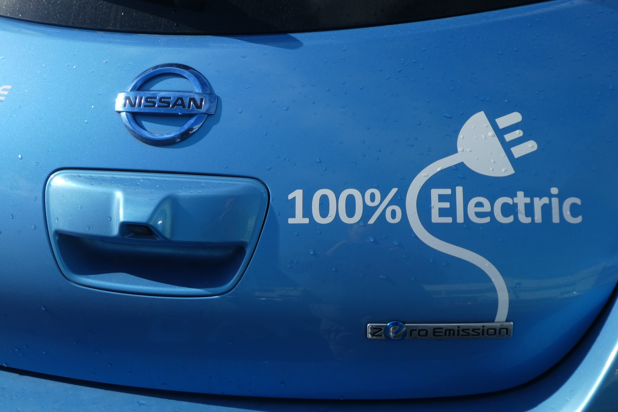 Electric Blue Nissan Leaf