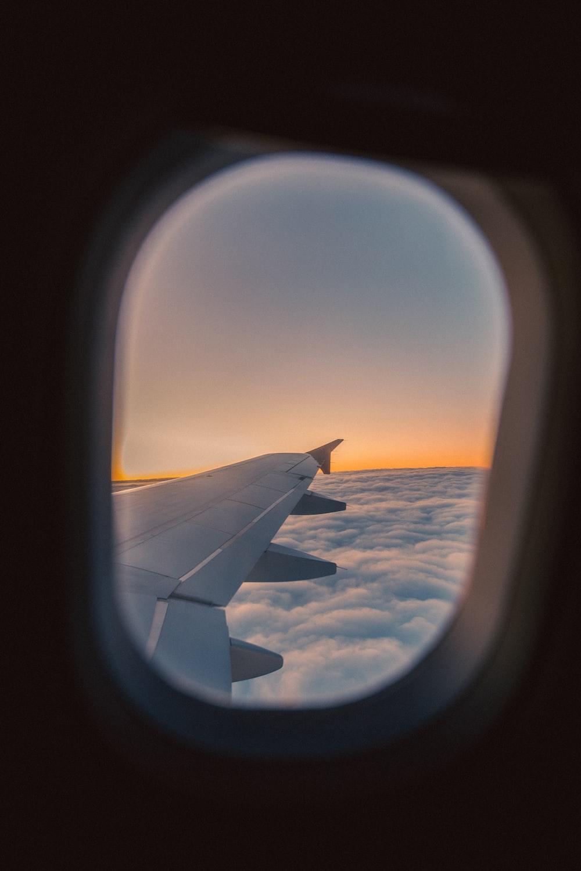 white airplane wing during daytime