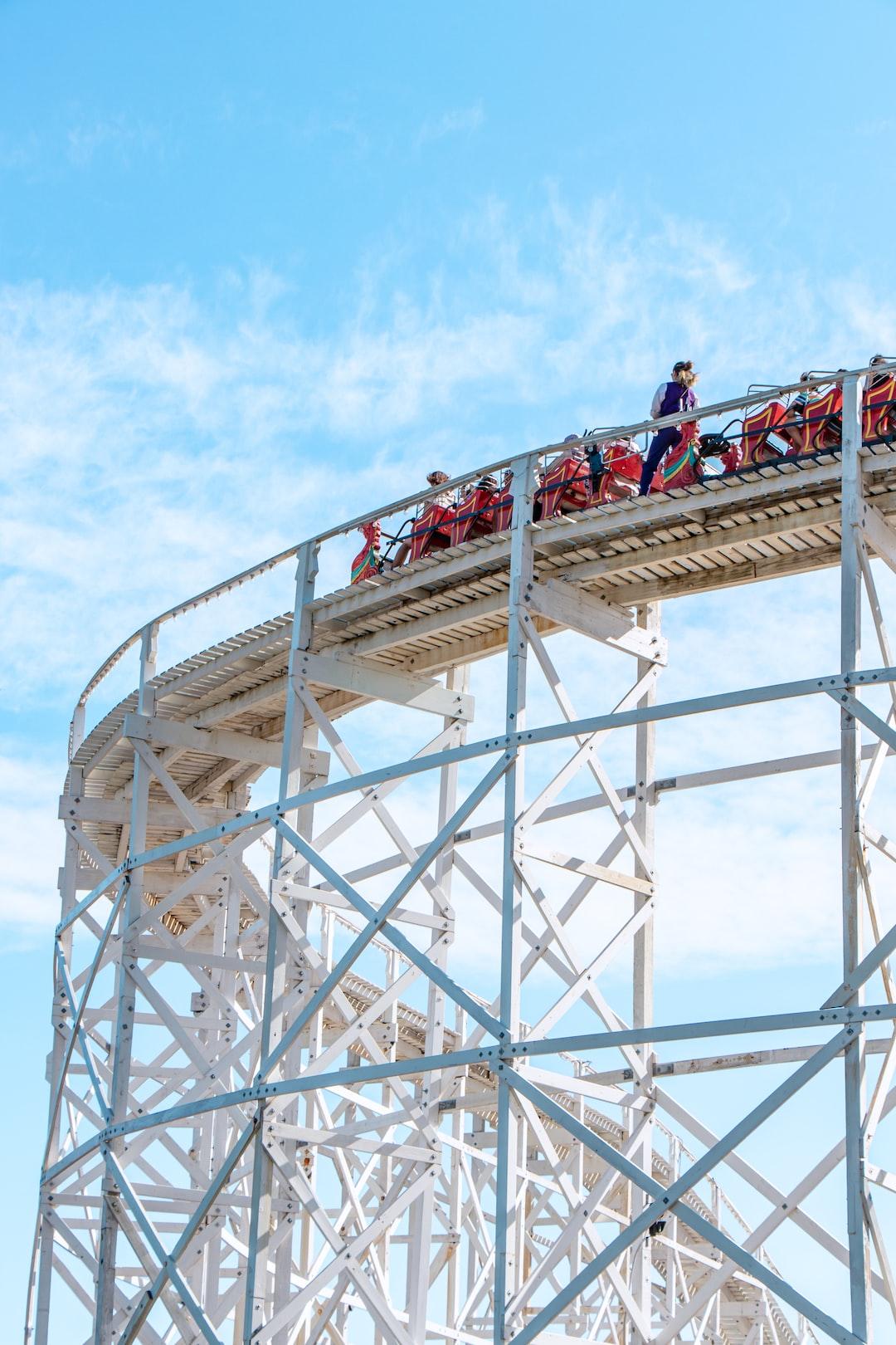 Summer: Kids having fun on roller coaster in Luna Park, St Kilda