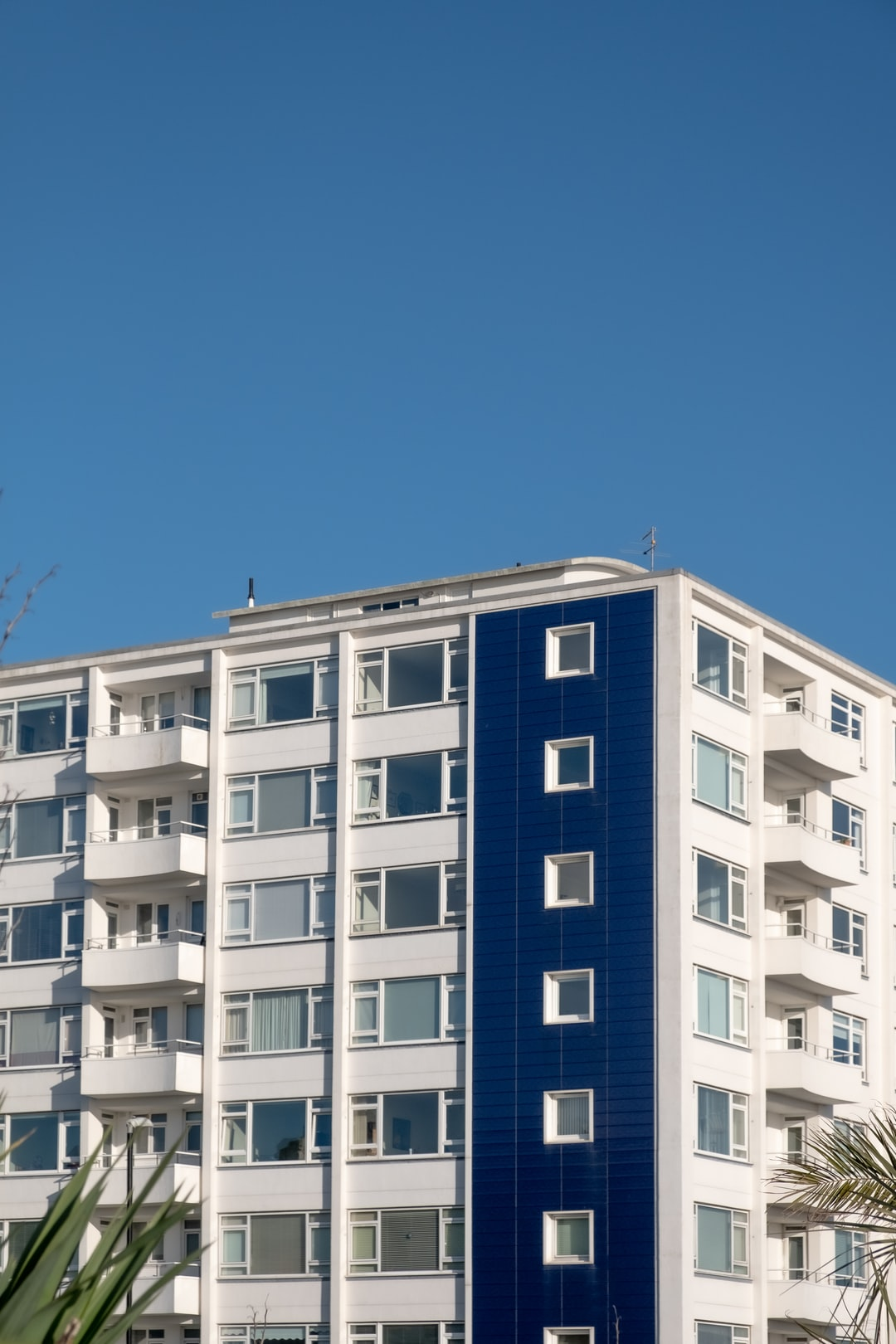 Block of flats against a blue sky in Eastbourne UK
