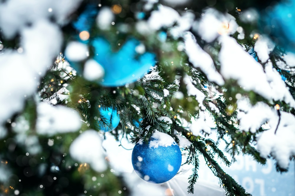 blue baubles on green christmas tree