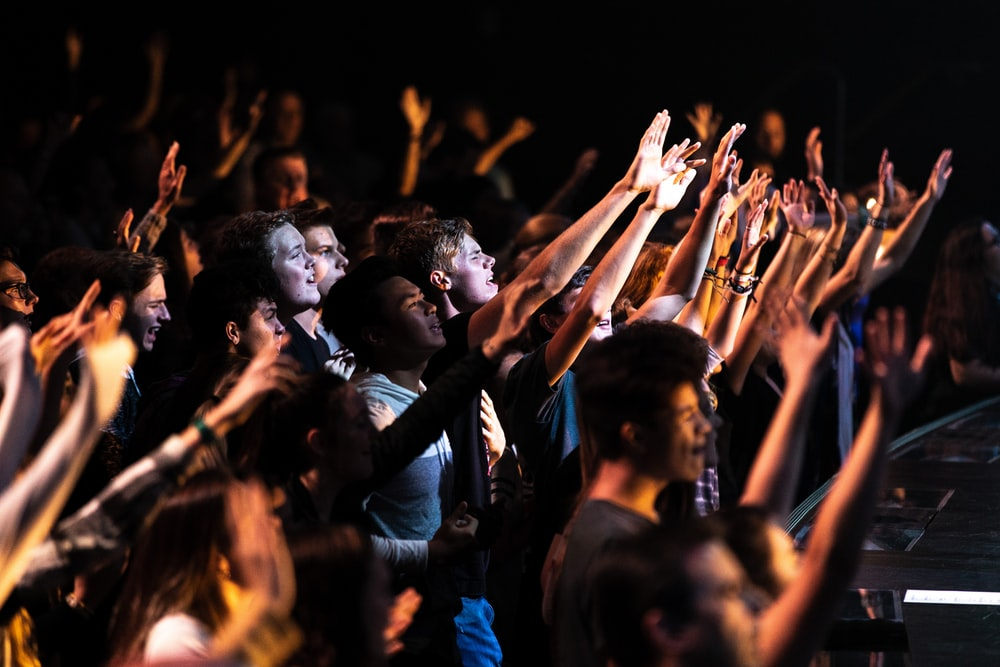 people raising their hands during night time