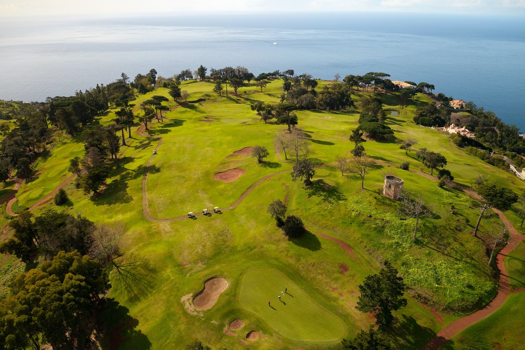 View down over the Palheiro Golf course in Funchal, Madeira.  The course at 500 meter up, has fantastic views over the city of Funchal.
