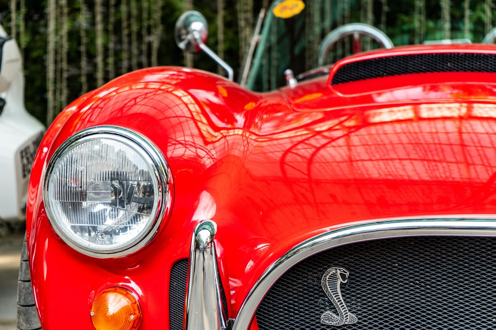 red and silver car headlight
