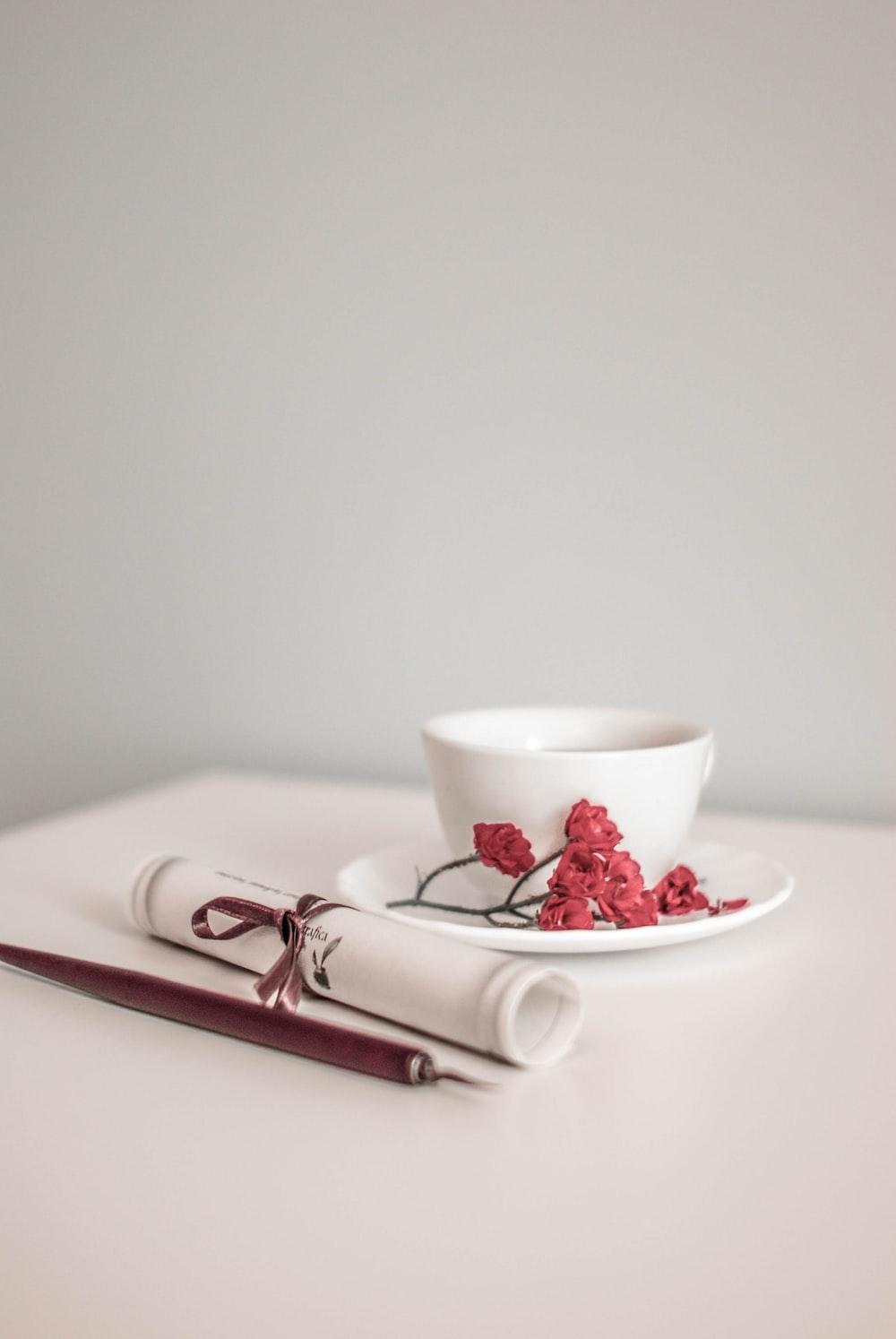 white ceramic bowl on white ceramic plate