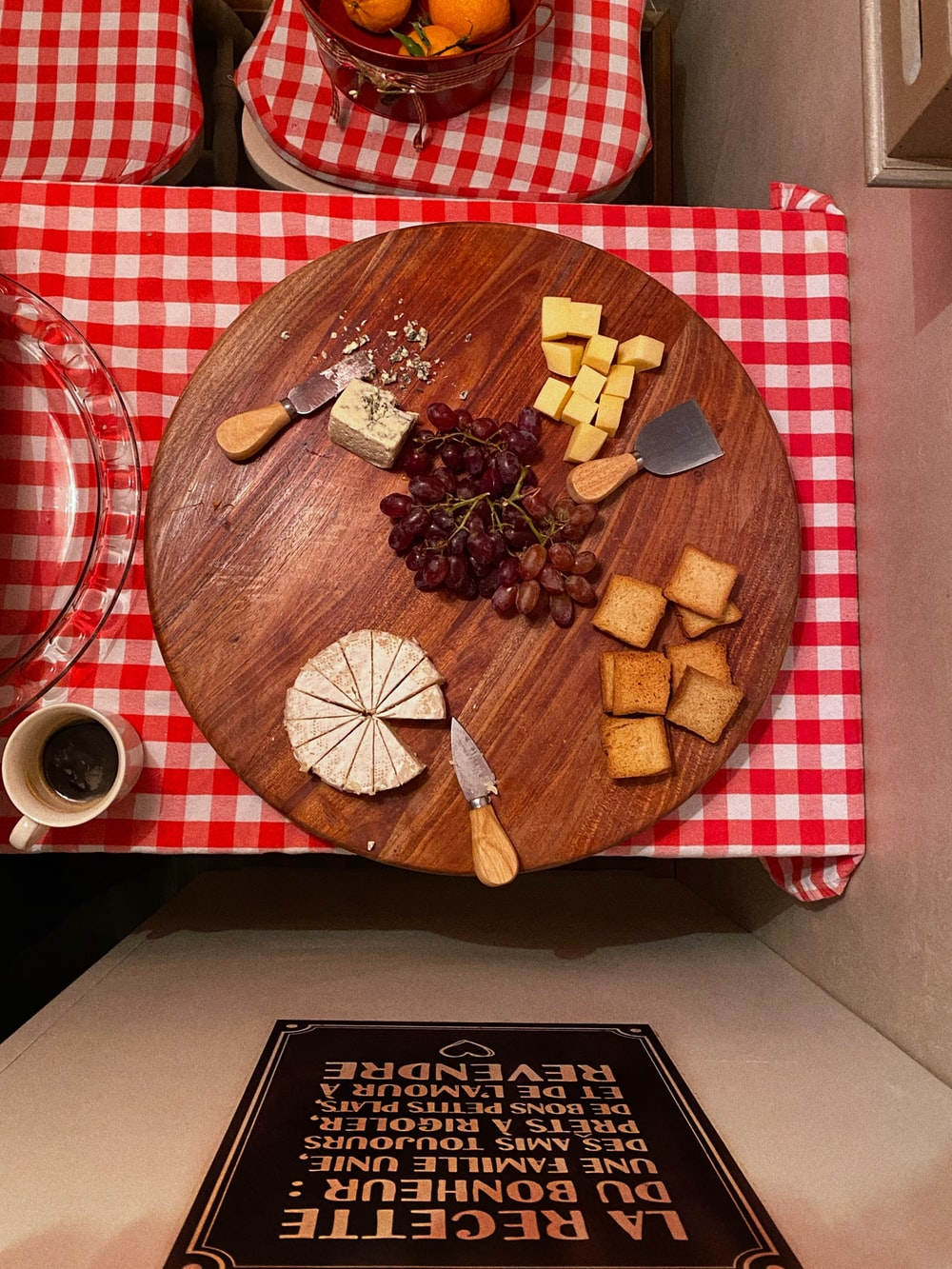 brown wooden round plate with sliced bread