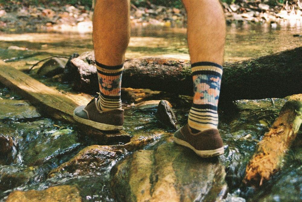 wearing waterproof socks while hiking