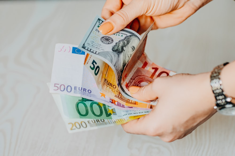 person holding 100 euro bill