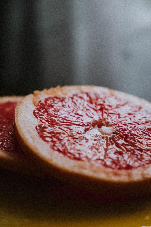 sliced lemon fruit in tilt shift lens