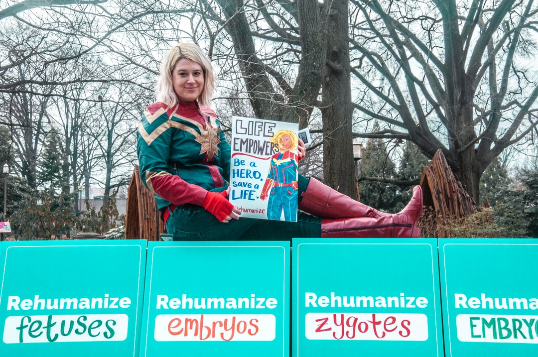 activist dressed as captain marvel at the March for Life