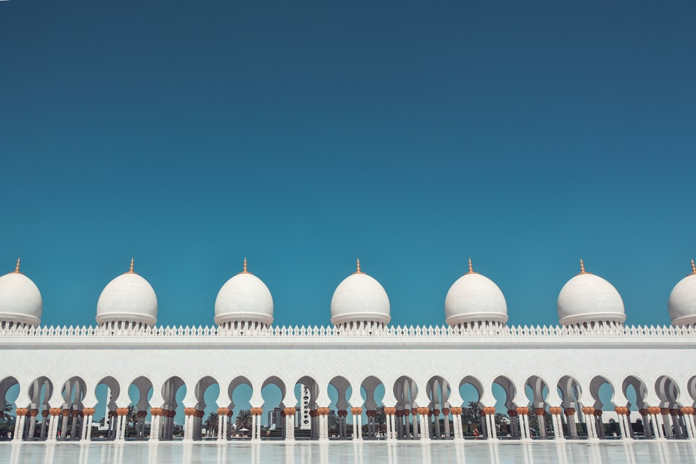 white and blue dome building