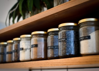 Spice rack with jars, shallow depth of field