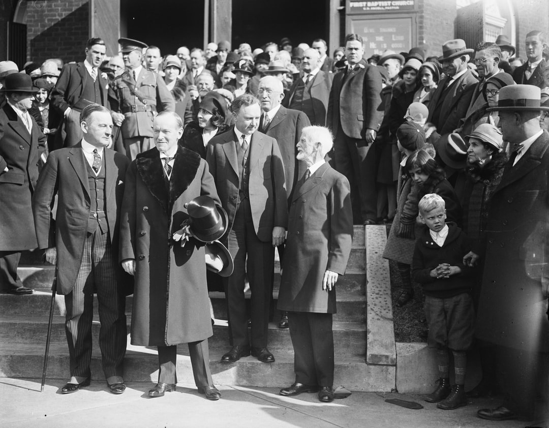 President and Mrs. Coolidge attended Thanksgiving Day service at the First Baptist Church in Virginia. Glass negative by Harris & Ewing, 1928. Library of Congress Prints & Photographs Division.  Photograph shows, left to right: Governor Angus McLean of North Carolina; President Coolidge; Mrs. Coolidge; Governor Harry Byrd of Virginia; Rev. George L. Petrie of the Charlottesville Ministerial Associate; and Rev. J.W. Moore, Pastor of the First Baptist Church.  https://www.loc.gov/item/2016889105/