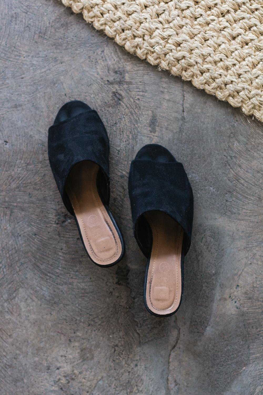black and brown slide sandals