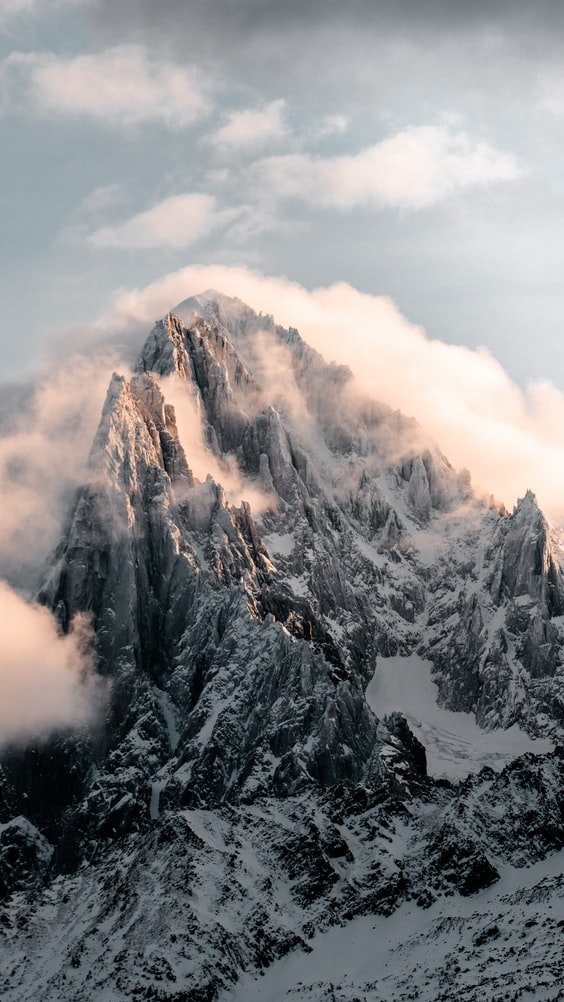 A snow-covered mountain near Chamonix, France