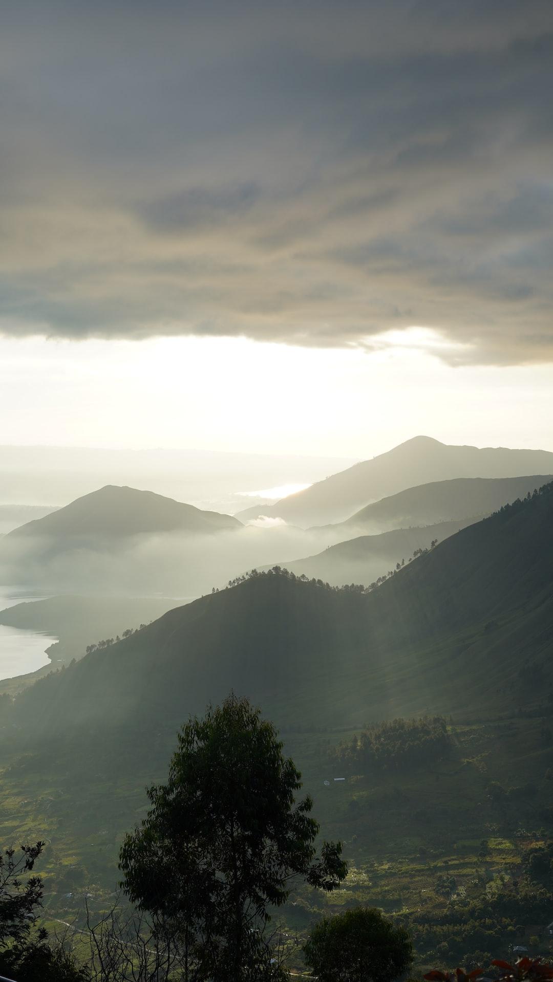 beautifull sunrise of lake toba from tele view point