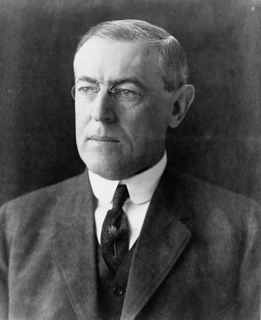 [Woodrow Wilson, head-and-shoulders portrait, facing left]. Photograph by Pach Brothers, c1912. From the Presidential File Collection. Library of Congress Prints & Photographs Division.    https://www.loc.gov/item/96522632/