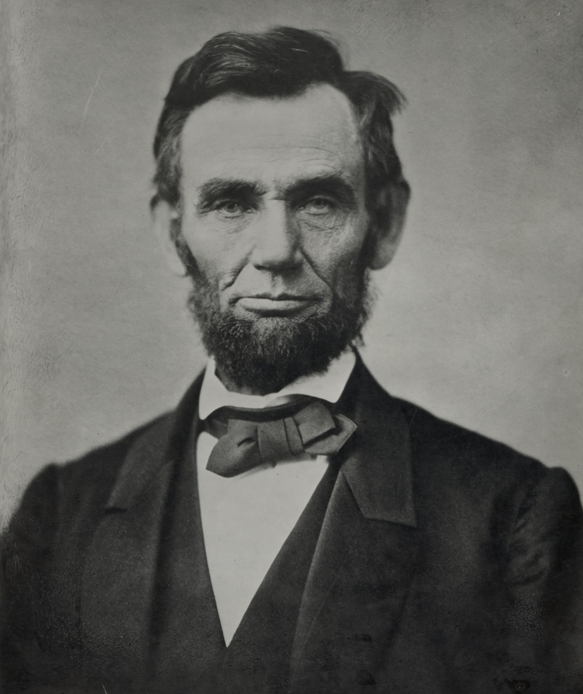 [Abraham Lincoln, head-and-shoulders portrait, facing front]. Photograph by photographer Alexander Gardner, [photograph taken 1863; printed later and c1900]. From the Presidential File Collection. Library of Congress Prints & Photographs Division.  https://www.loc.gov/item/96522529/