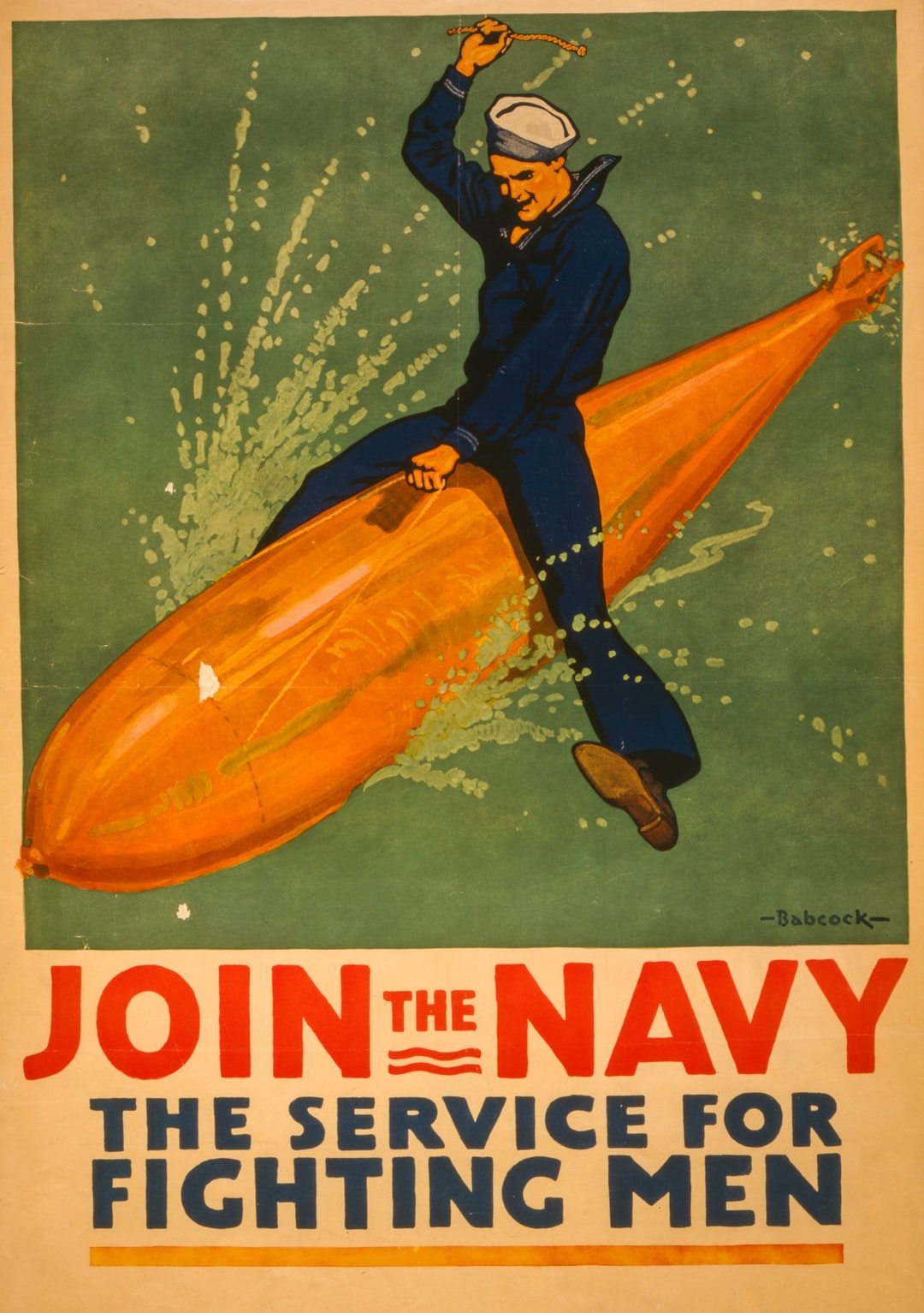 Join the Navy, the service for fighting men. Poster by artist Richard Fayerweather Babcock, [1917]. From the Posters: World War I Collection. Library of Congress Prints & Photographs Division.  https://www.loc.gov/item/2002699393/