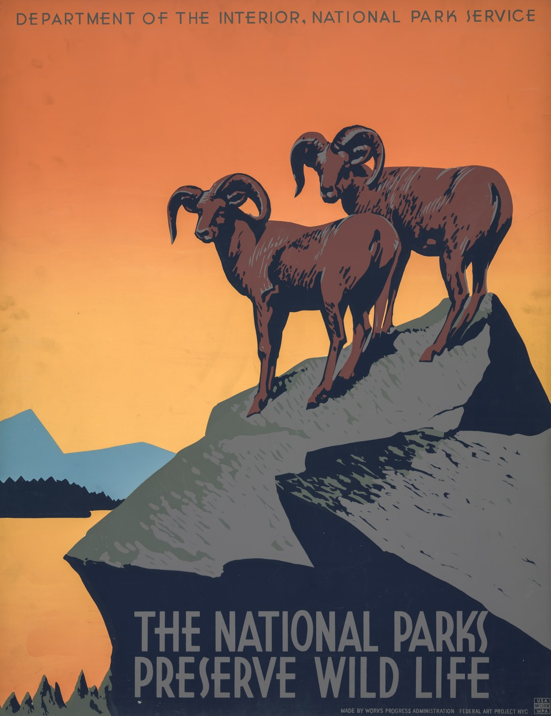 The National Parks Preserve Wild Life. Poster from the NYC: Works Progress Administration, Federal Art Project, [between 1936 and 1939]. From the Work Projects Administration Poster Collection. Library of Congress Prints & Photographs Division.  https://www.loc.gov/item/98518597/