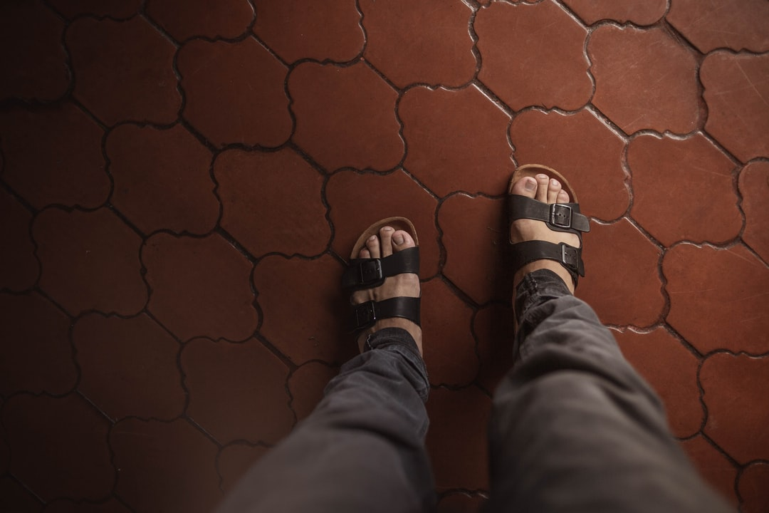 feet on floor, feet on red ceramic floor from point of view  #feet #sandals #barefeet #floor #pov #relax #toes