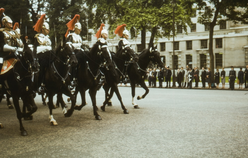 men in black and white uniform riding on black horse during daytime