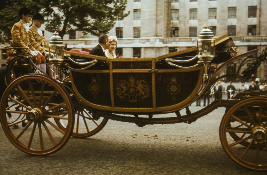 1965, Queen Elizabeth II sits in a carriage during the Opening of Parliament, Queens royal procession