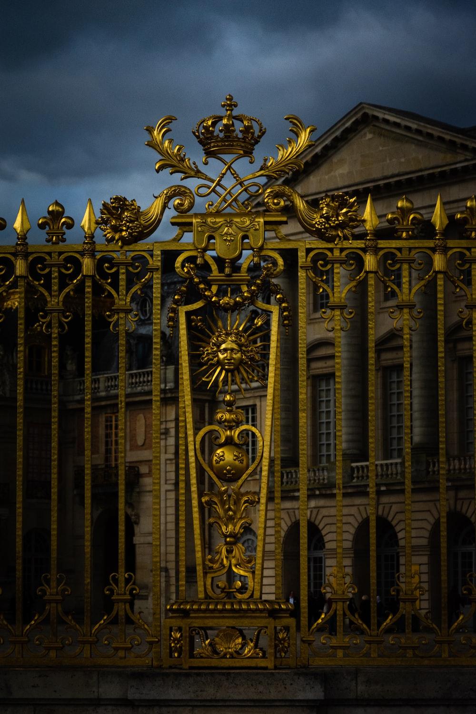 gold and black concrete building