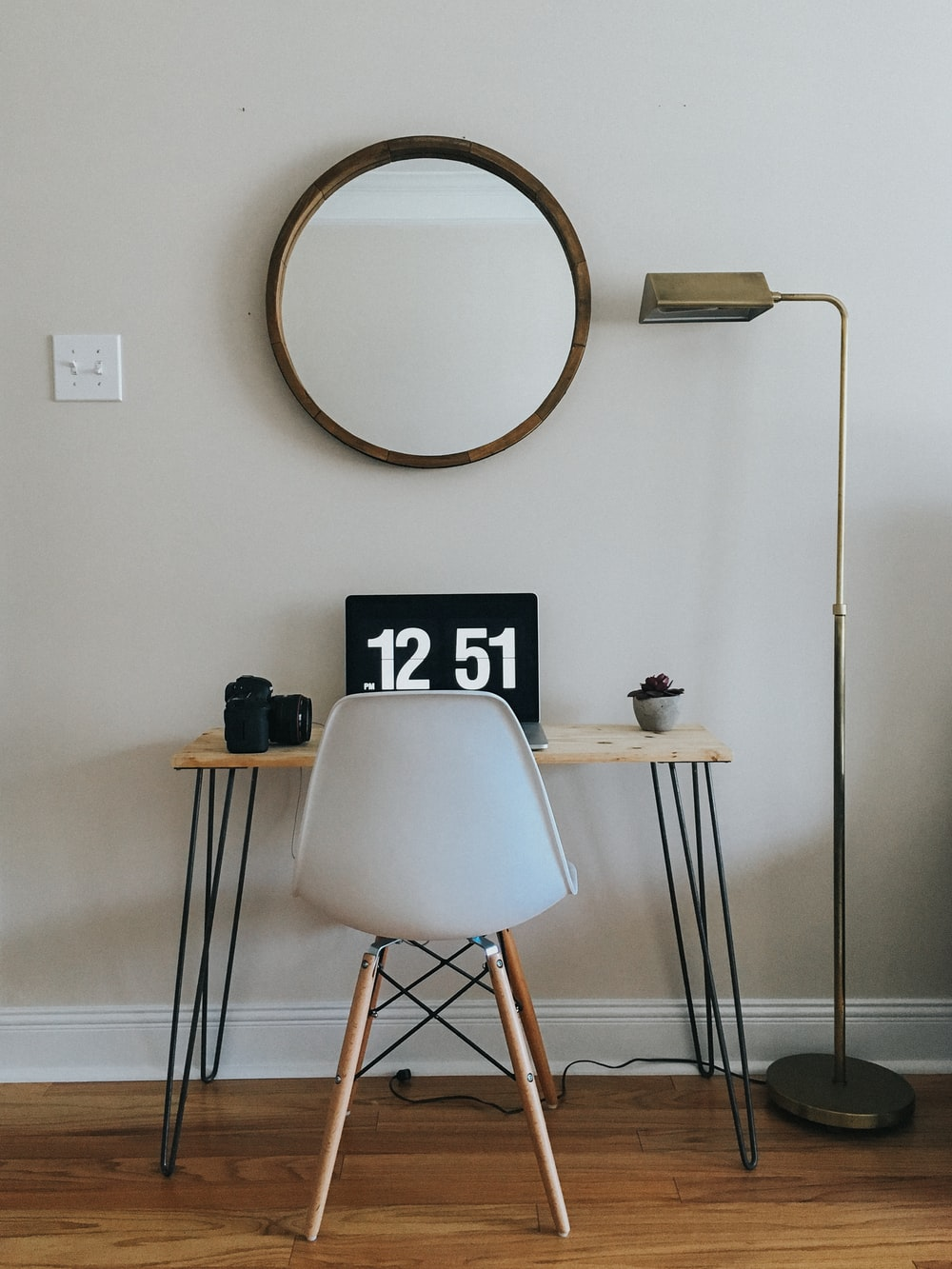 white and black wooden chair