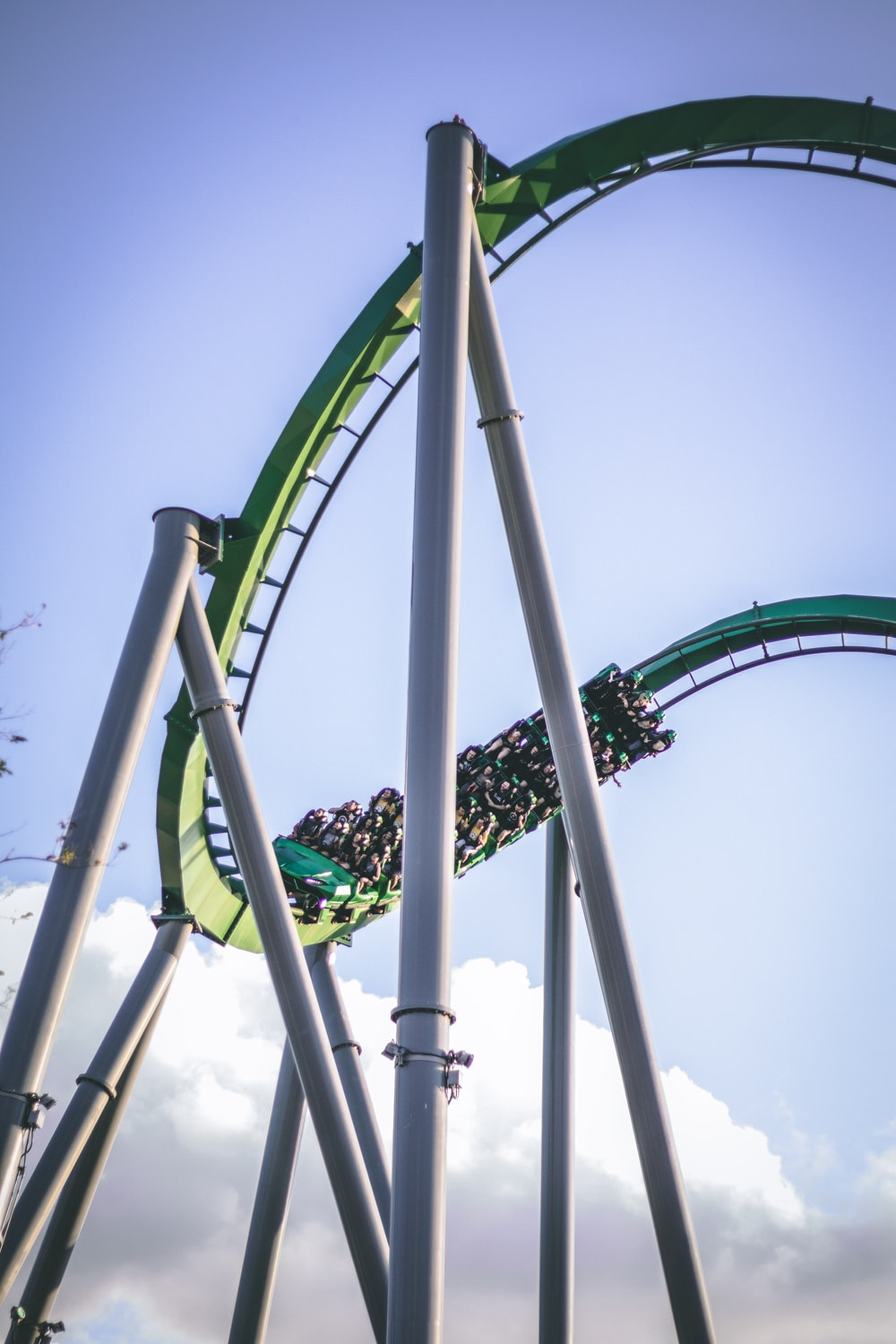green and white roller coaster