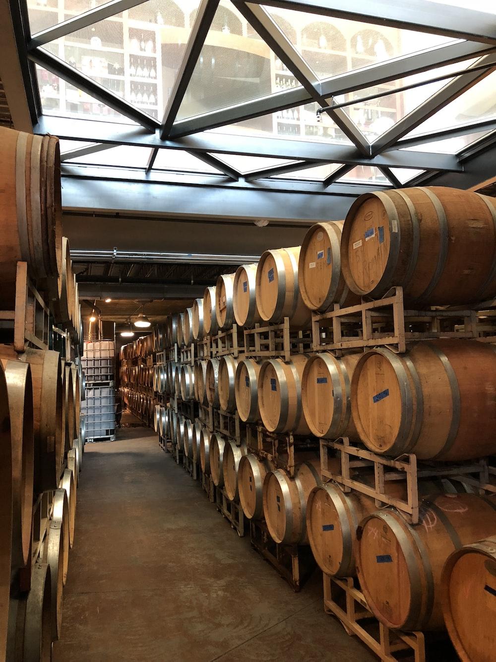 brown wooden barrels in a room
