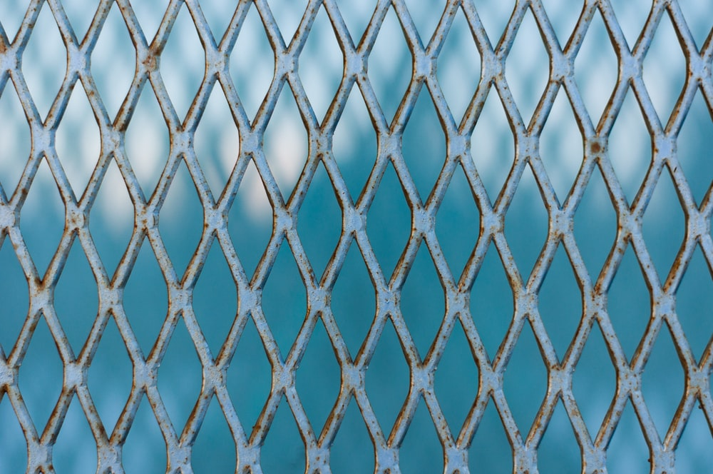 blue and white net in close up photography