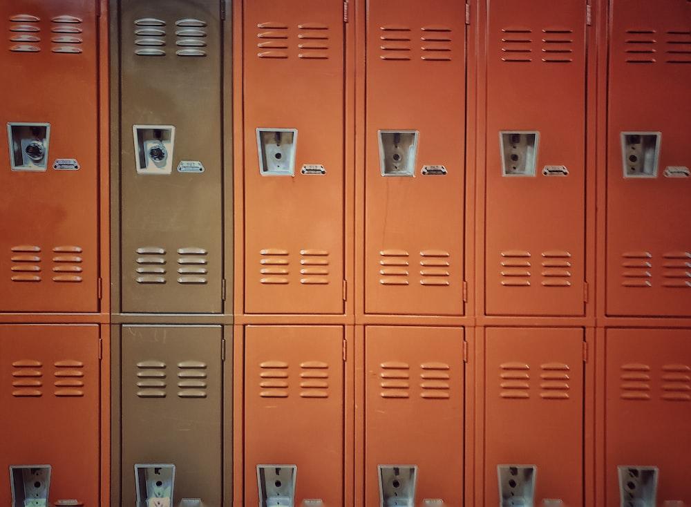 blue metal locker with padlock