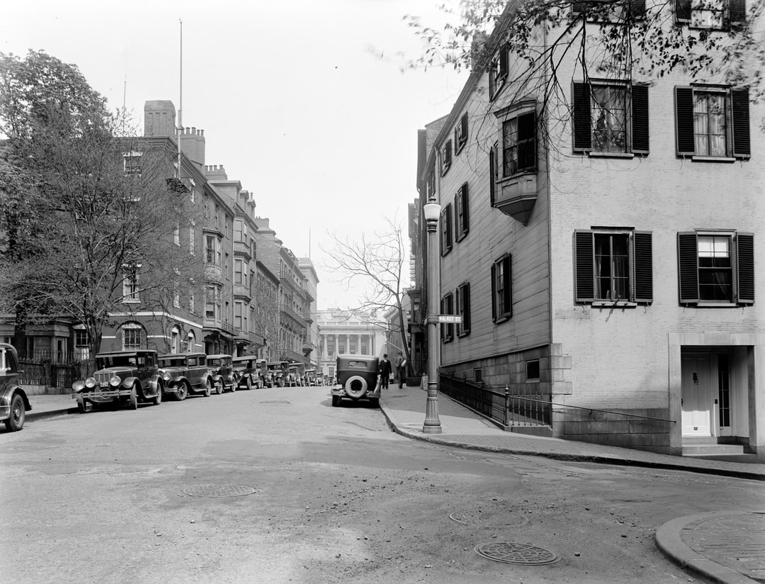 57–59 Mt. Vernon Street, 57 Was Home of Charles Francis Adams, 59 Was Home Thomas Bailey Aldrich, Beacon Hill. photographer: abdalian, Leon H. date: may 5, 1930 - unsplash