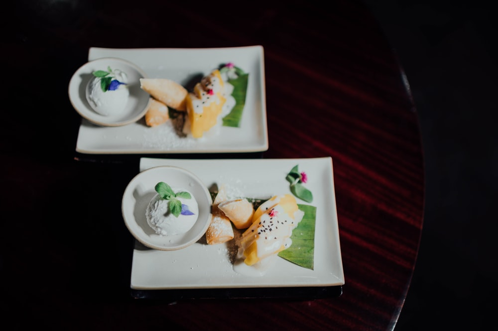 white ceramic plate with food