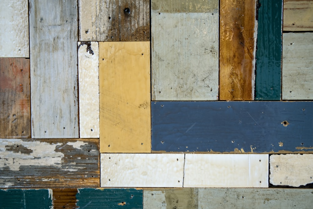 blue and white wooden wall