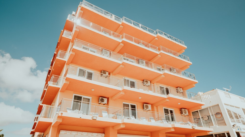 white and orange concrete building