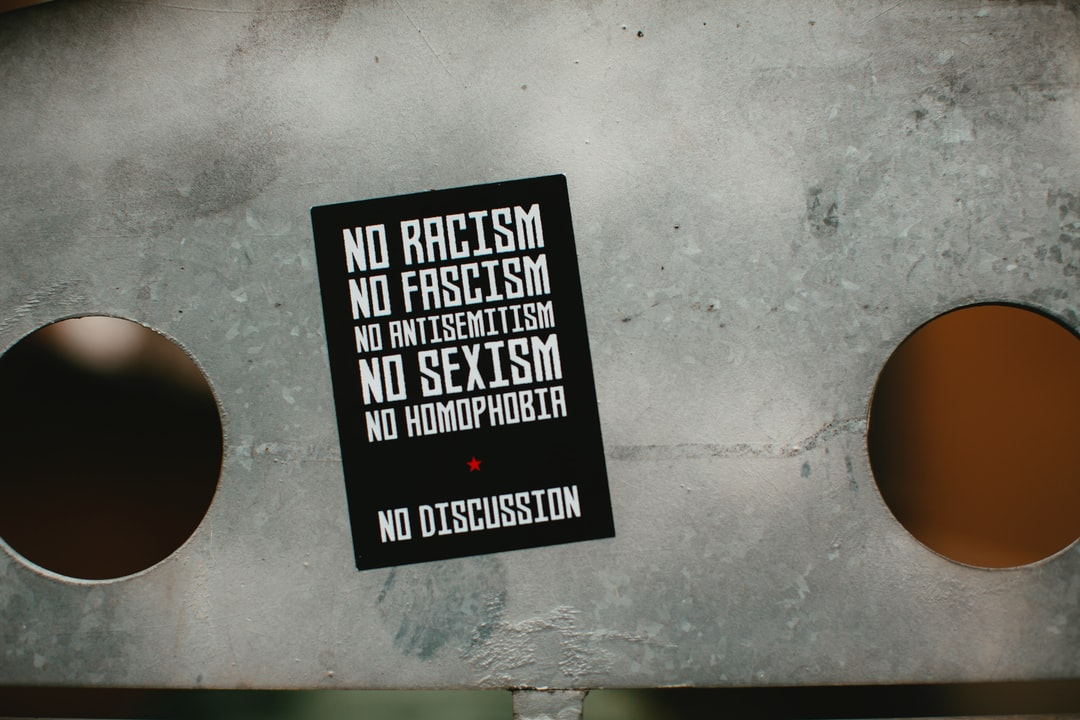 NO Racisim NO Faschism NO Antisemitism NO Sexism NO Homophobia – NO DISCUSSCION. Urban street art – protest statement