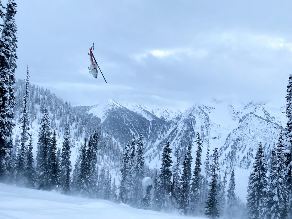 person in red jacket and black pants riding ski blades on snow covered ground near green
