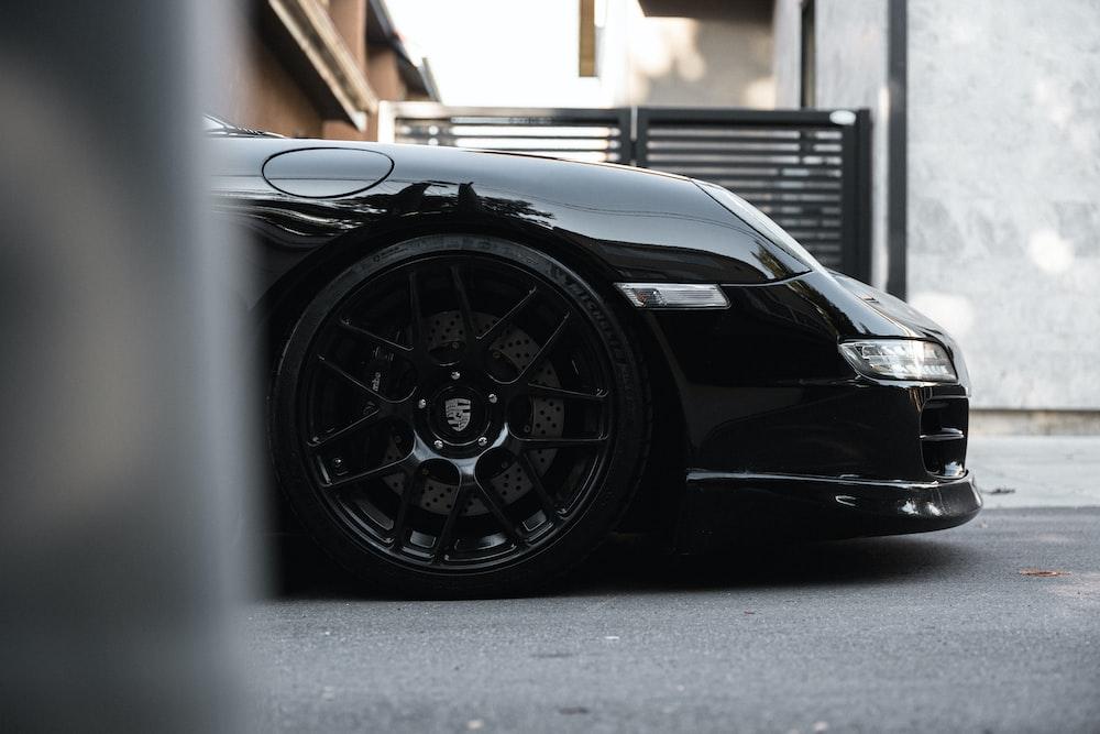 black car in a garage