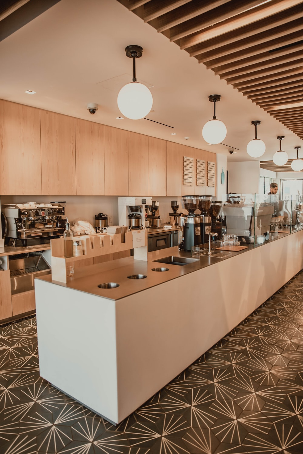 brown and white wooden kitchen counter
