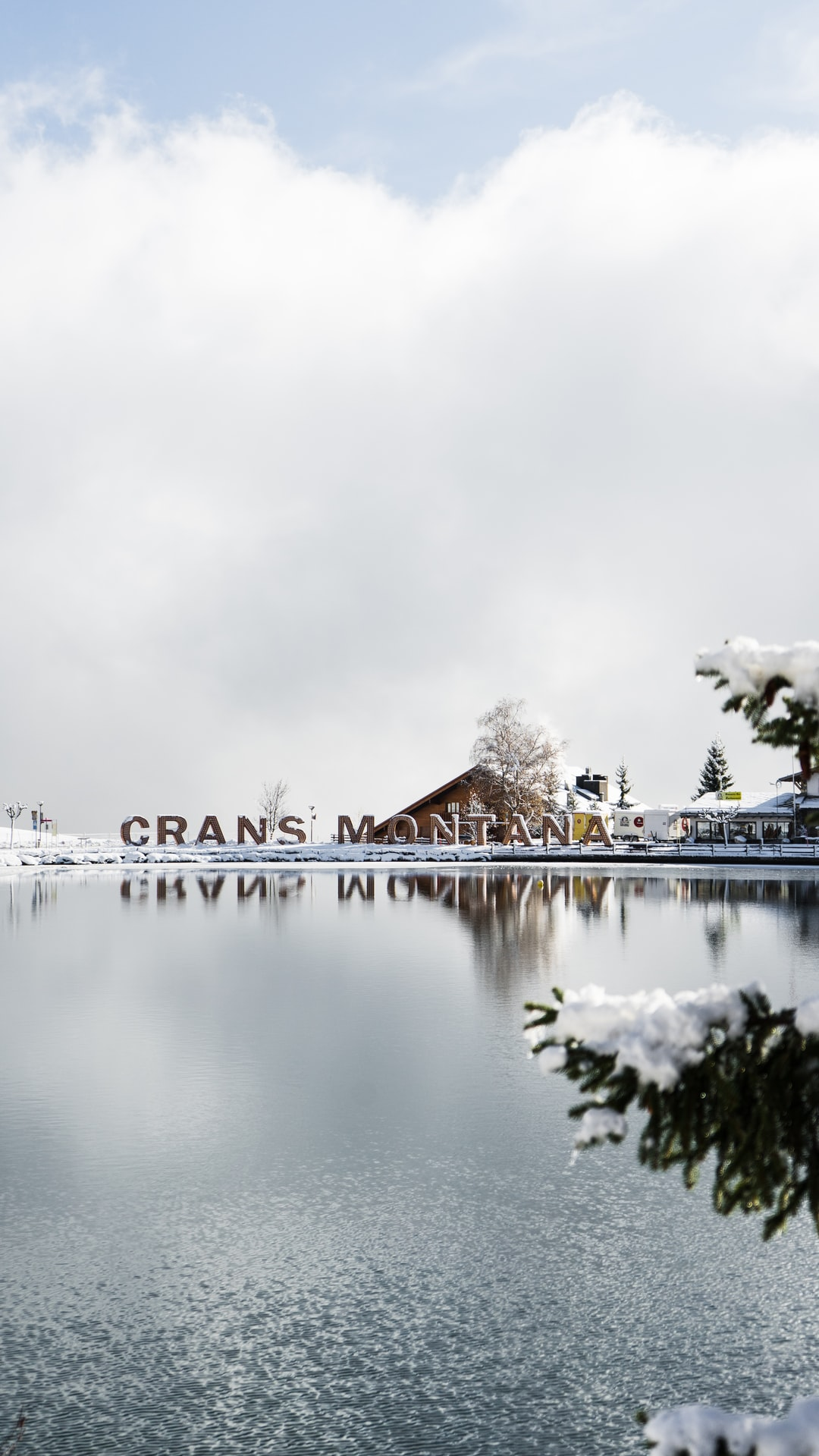 Etang Grenon in Crans-Montana, Switzerland.  Winter time is the most beautiful period of the year for this village.