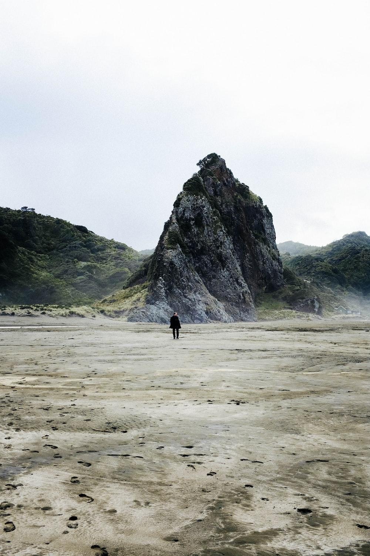 person walking on beach near green mountain during daytime