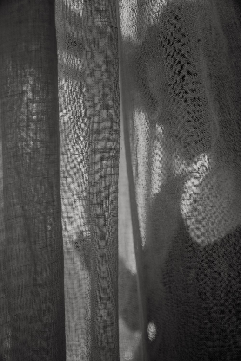 grayscale photo of a person standing in front of a window curtain
