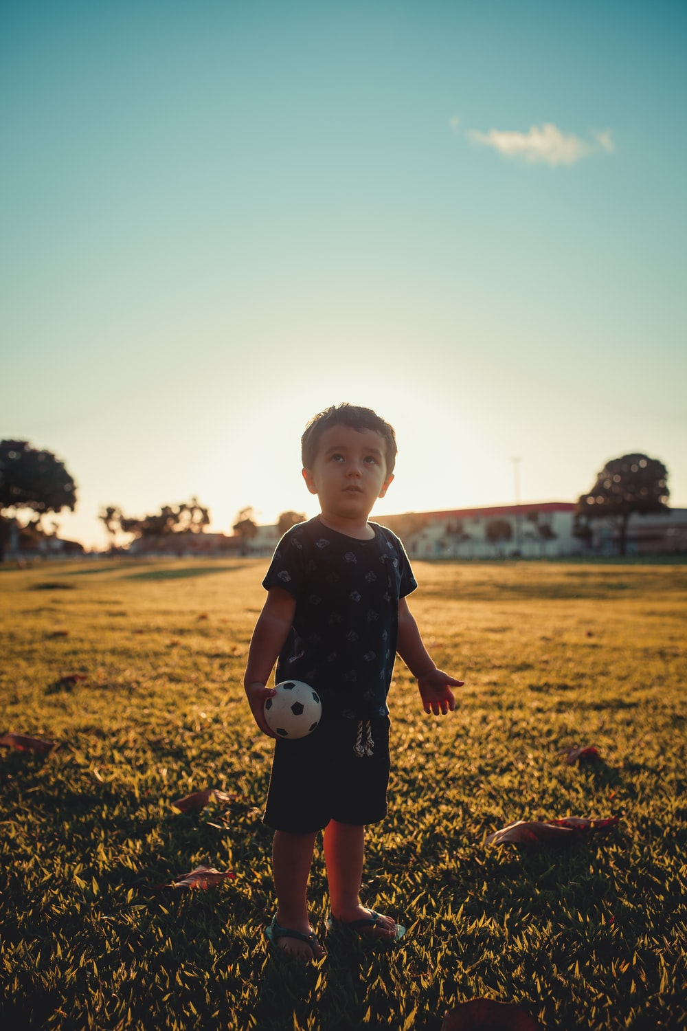 boy in blue crew neck t-shirt standing on green grass field during daytime