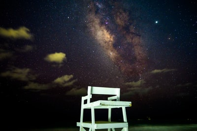 white wooden chair under starry night bermuda zoom background