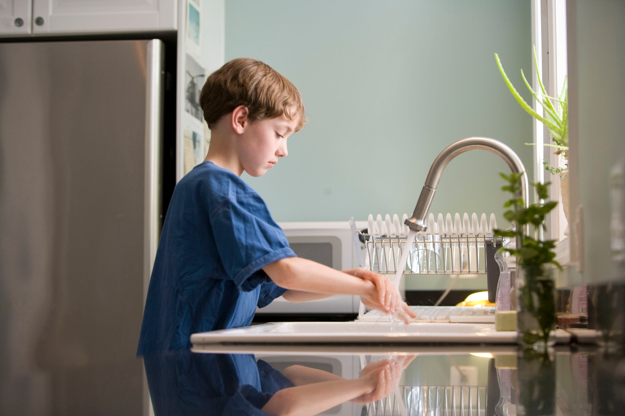 This young boy was shown in the process of properly washing his hands at his kitchen sink, briskly rubbing his soapy hands together under fresh running tap water, in order to remove germs, and contaminants, thereby, reducing the spread of pathogens, and his ingestion of environmental chemicals, or toxins. Children are taught to recite the Happy Birthday song, during hand washing, allotting enough time to completely clean their hands.