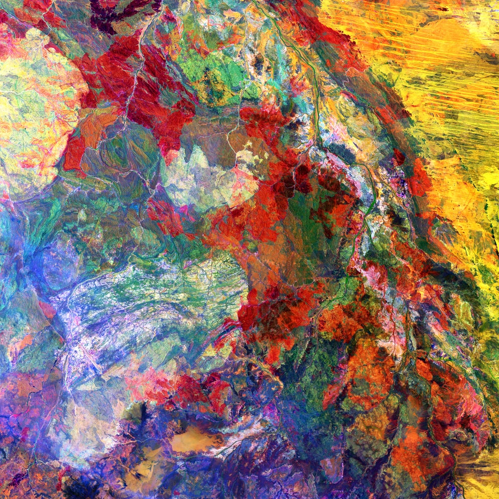 yellow red and blue abstract painting