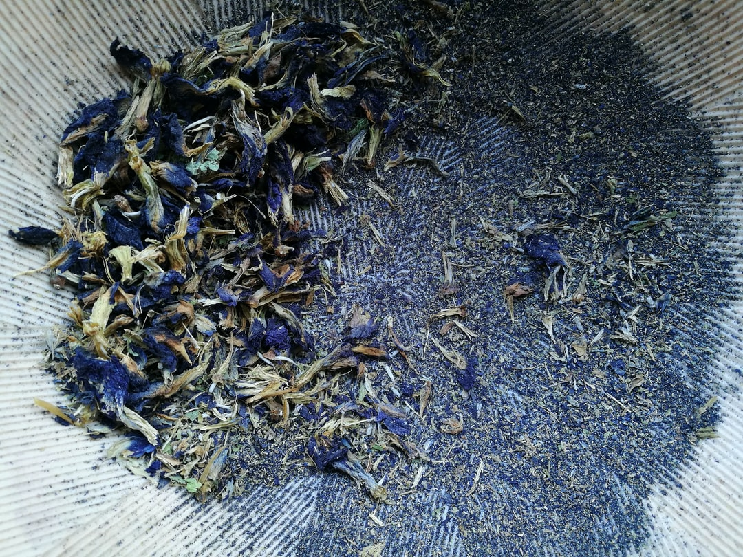 Blue For You | Dried Blue Flowers Partly Grounded Into A Powder In A Suribachi - A Japanese Mortar - unsplash